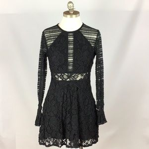 Free People Lace High Neck Long Sleeve Fit & Flare